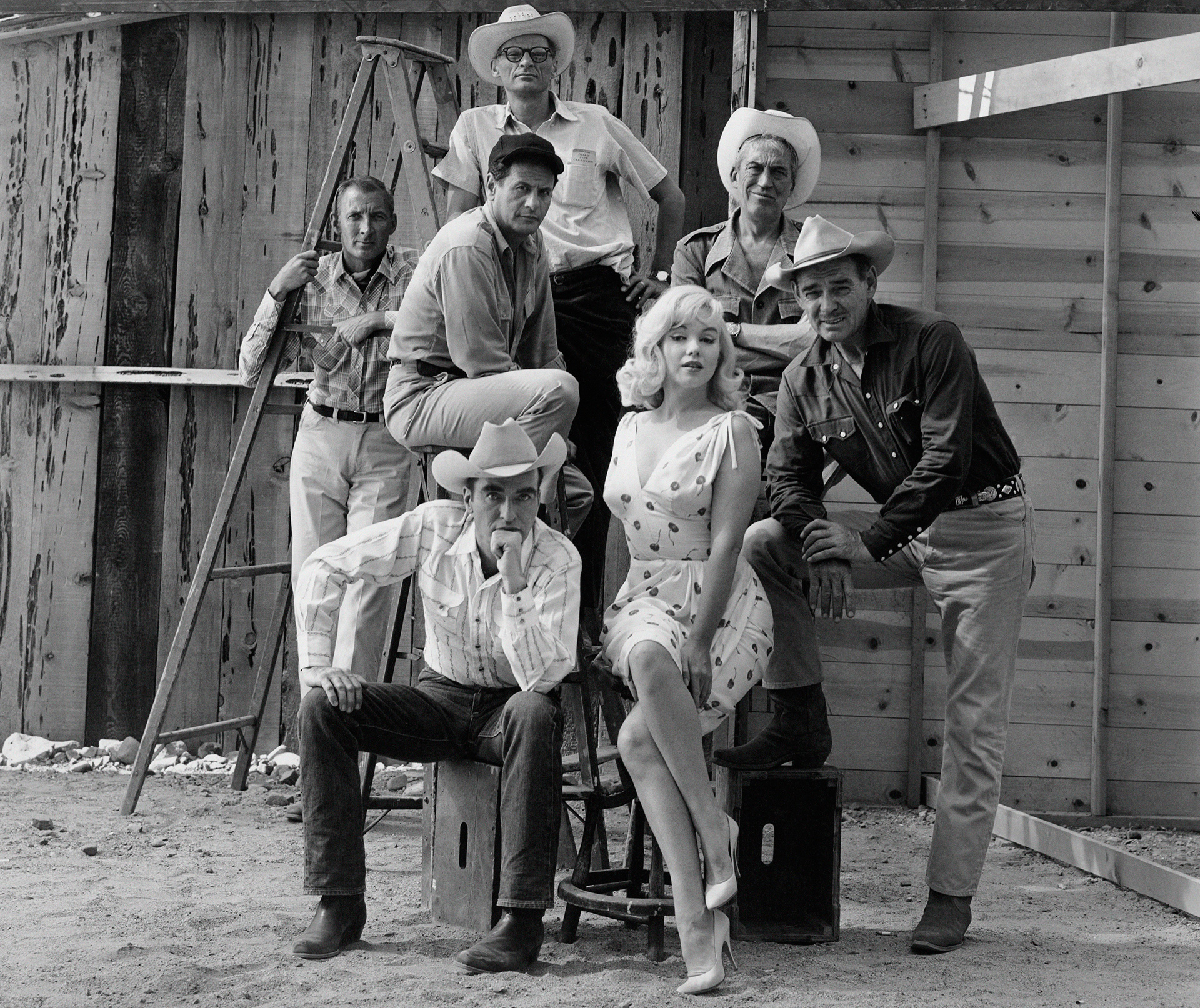 "Elliott Erwitt ""USA. Reno, Nevada. 1960. 'The Misfits' group shot."""